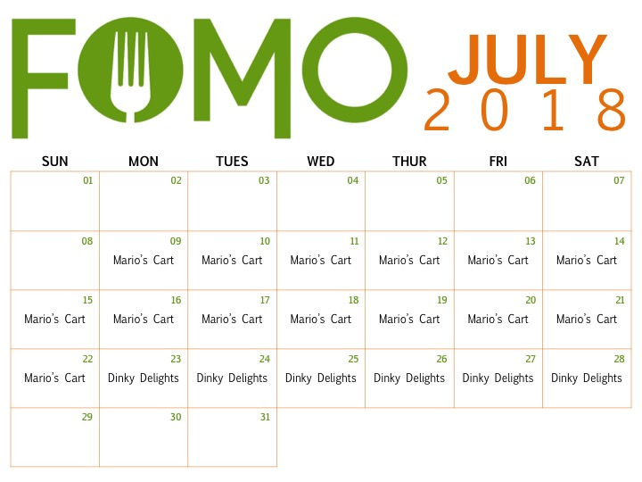 Green & orange July 2018 calendar of the restaurants coming to the FOMO pop-up.
